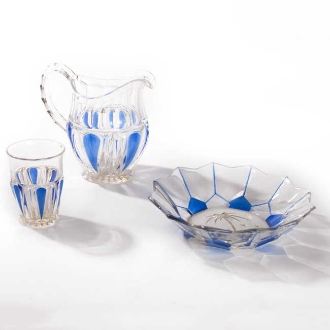 Pitcher, bowl and glass