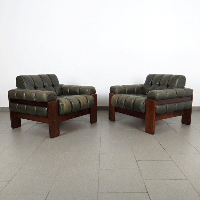Leather armchairs - pair